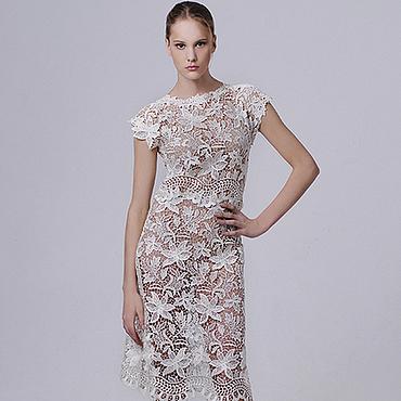 Свадебный салон ручной работы. Ярмарка Мастеров - ручная работа Платье вечернее кружевное коктейльное белое свадебное нарядное. Handmade.