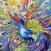 Картины и панно handmade. Livemaster - original item The picture Golden Peacock oil painting peacock. Handmade.
