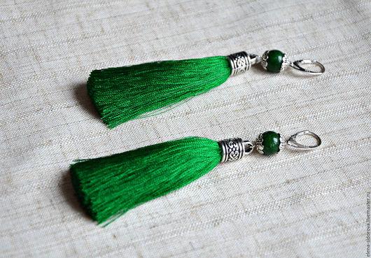 """Серьги ручной работы. Ярмарка Мастеров - ручная работа. Купить Серьги-кисти """"Зеленая, зеленая трава"""". Handmade. Зеленый"""