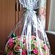 Букеты ручной работы. Букет из конфет в салатово-розовых тонах в корзине. Antonina Smirnova. Ярмарка Мастеров. Букет из конфет