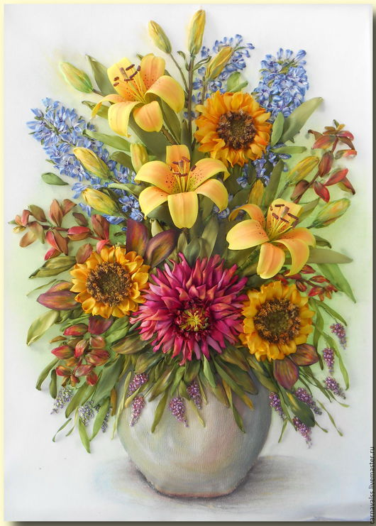 Картины цветов ручной работы. Ярмарка Мастеров - ручная работа. Купить Букет: Желтые лилии, подсолнухи , дельфиниум. Handmade. Комбинированный