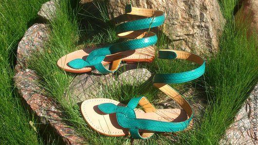 Обувь ручной работы. Ярмарка Мастеров - ручная работа. Купить Сандалии из кожи змеи. Handmade. Сандалии, сандалии из кожи