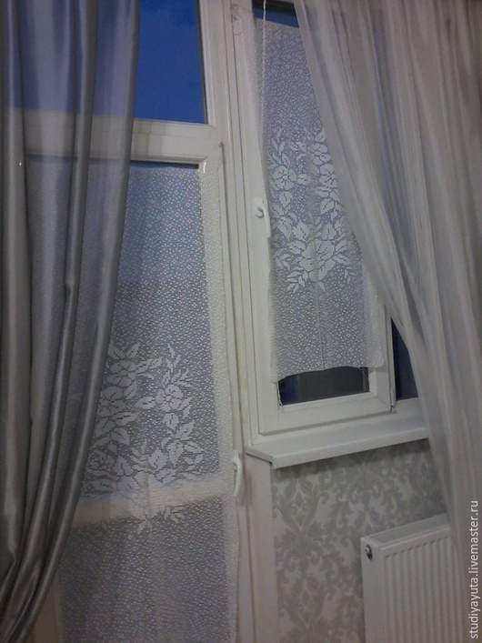 """Текстиль, ковры ручной работы. Ярмарка Мастеров - ручная работа. Купить Комплект занавесок """"Веночек"""". Handmade. Белый, подарок женщине"""