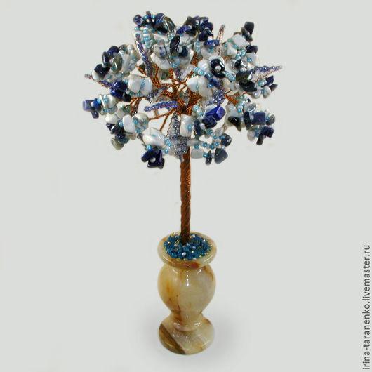 Дерево из лазурита и кахолонга `Рассвет` в вазочке из оникса