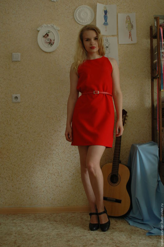 Платья ручной работы. Ярмарка Мастеров - ручная работа. Купить маленькое красное платье. Handmade. Ярко-красный, алый цвет