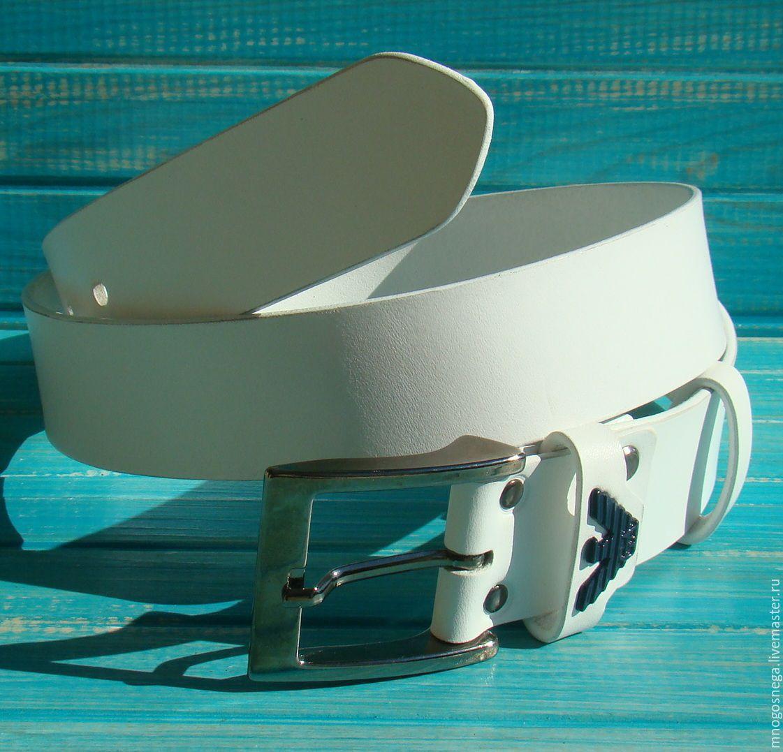 Men's leather belt White, Straps, Balabanovo,  Фото №1