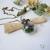 Украшения handmade. Livemaster - original item Transparent Pendant Sphere with Moss and Real Flowers rustic. Handmade.
