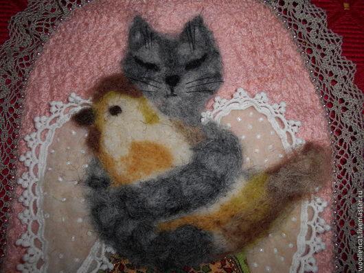 """Животные ручной работы. Ярмарка Мастеров - ручная работа. Купить Панно """"Моя птичка, или В память о кошке Мышке"""". Handmade."""