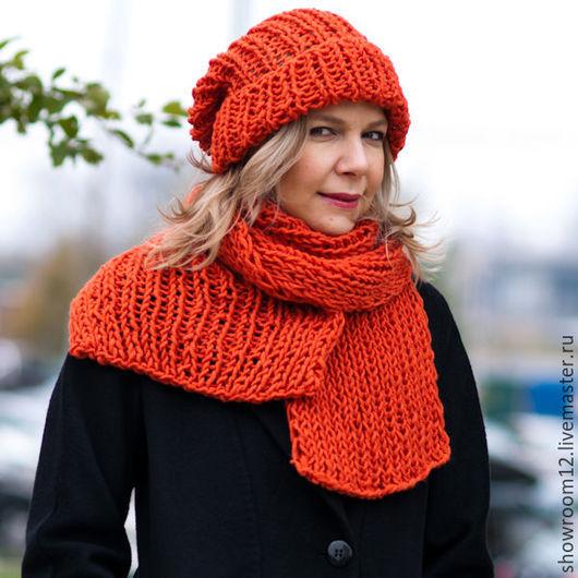 Шапки ручной работы. Ярмарка Мастеров - ручная работа. Купить Комплект оранжевый шапка, шарф. Handmade. Разноцветный, шарф