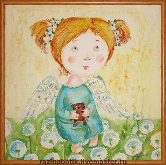 Люди, ручной работы. Ярмарка Мастеров - ручная работа. Купить Ангел в одуванчиках. Handmade. Ангел, девочка, детство, одуванчики, шёлк