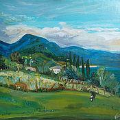 Картины и панно ручной работы. Ярмарка Мастеров - ручная работа Картина. Абхазия. Вид на Афонскую и Иверскую горы. Handmade.
