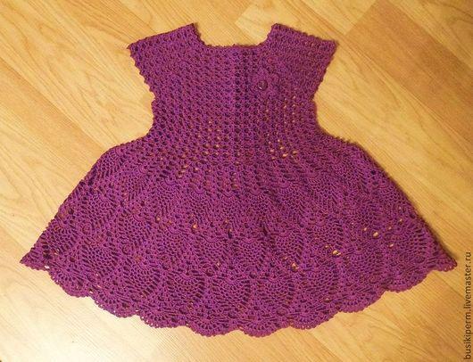 Одежда для девочек, ручной работы. Ярмарка Мастеров - ручная работа. Купить Вязаное платье для девочки. Handmade. Брусничный, Вязание крючком