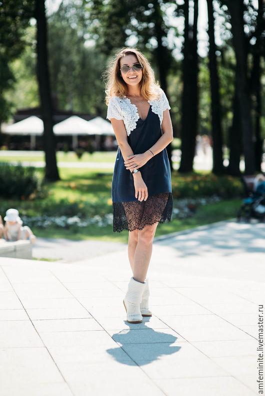 Платья ручной работы. Ярмарка Мастеров - ручная работа. Купить Шелковое платье-комбинация (однотонное). Handmade. Тёмно-синий