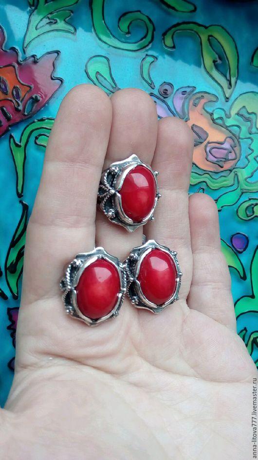 Комплекты украшений ручной работы. Ярмарка Мастеров - ручная работа. Купить 167 Комплект серебрение серьги и кольцо с камнями. Handmade.