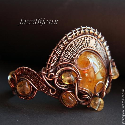 Браслеты ручной работы. Ярмарка Мастеров - ручная работа. Купить «Le Soleil» Медный браслет с цитрином. Handmade. Браслет