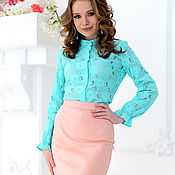 Одежда handmade. Livemaster - original item Blouse with stand-out lace color mint. Handmade.