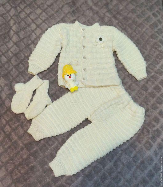 Одежда унисекс ручной работы. Ярмарка Мастеров - ручная работа. Купить Вязаный костюм для девочки и мальчика. Handmade. Белый