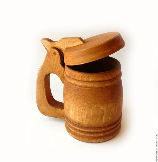 Кружки и чашки ручной работы. Ярмарка Мастеров - ручная работа. Купить Кружка пивная 0,3 л с крышкой из дерева. Handmade.