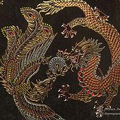 Картины ручной работы. Ярмарка Мастеров - ручная работа Роспись по стеклу Феникс и Дракон Оберег для семьи. Handmade.