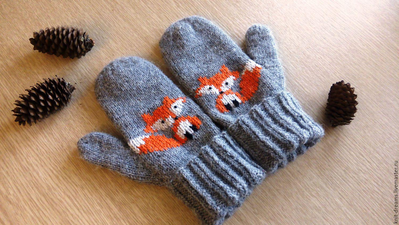 Перчатки-варежки вязанные