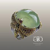 Украшения handmade. Livemaster - original item Large ring with prehnite, rubies, and sapphires. Silver, gilding.. Handmade.