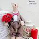 Куклы Тильды ручной работы. Кот с букетом красных роз. Светлана Котельчук Игрушки Тильда. Интернет-магазин Ярмарка Мастеров.
