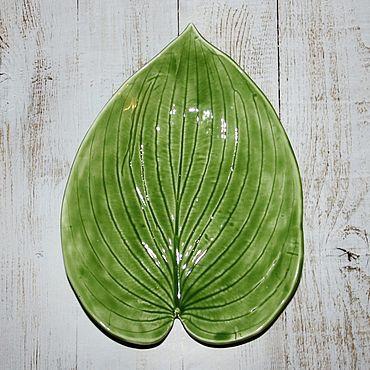 Посуда. Ярмарка Мастеров - ручная работа Тарелка Хоста салатовая. Handmade.