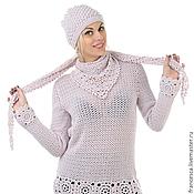 Шапочка и шарф бактус кашемировые вязаные  - модный  аксессуар