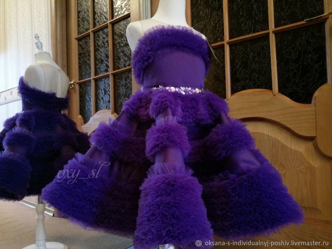 Одежда: лиловое платье с пушистой юбочкой, Платье, Каменск-Шахтинский,  Фото №1