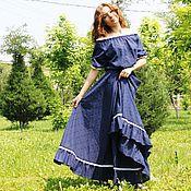 """Одежда handmade. Livemaster - original item Летнее платье синее """"Роскошь лета"""" хлопок-шитье. Handmade."""