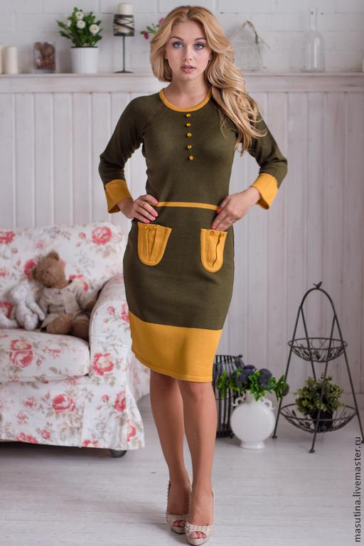 """Платья ручной работы. Ярмарка Мастеров - ручная работа. Купить Платье """"Гренландия"""" хаки. Handmade. Хаки, платье для офиса"""