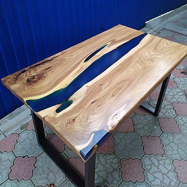 Для дома и интерьера ручной работы. Ярмарка Мастеров - ручная работа Мебель: Стол из слэба с рекой. Handmade.