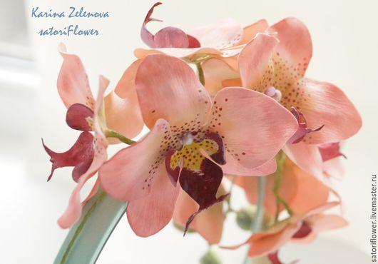 Диадемы, обручи ручной работы. Ярмарка Мастеров - ручная работа. Купить Венок из персиковых орхидей. Handmade. Кремовый, венок на голову