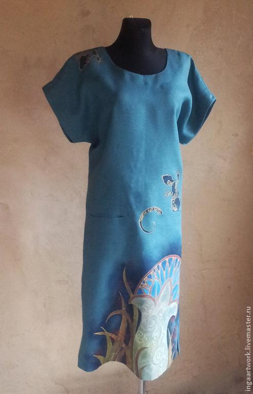 """Платья ручной работы. Ярмарка Мастеров - ручная работа. Купить Льняное женское платье-кимоно.""""Саламандры-огненные духи""""Ручная роспись. Handmade."""