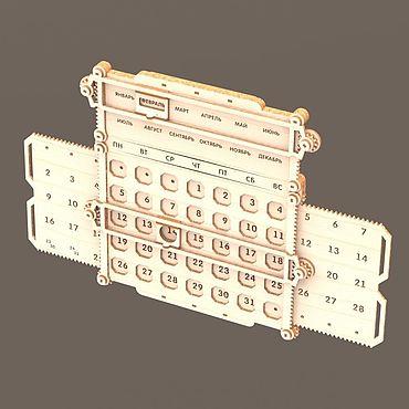 Канцелярские товары ручной работы. Ярмарка Мастеров - ручная работа Вечный календарь настенный механический. Handmade.