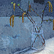 Картины и панно handmade. Livemaster - original item Textile painting still Life with birch branches in a glass vase. Handmade.