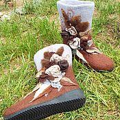 """Обувь ручной работы handmade. Livemaster - original item Валенки на подошве """"Морозная прохлада"""". Handmade."""