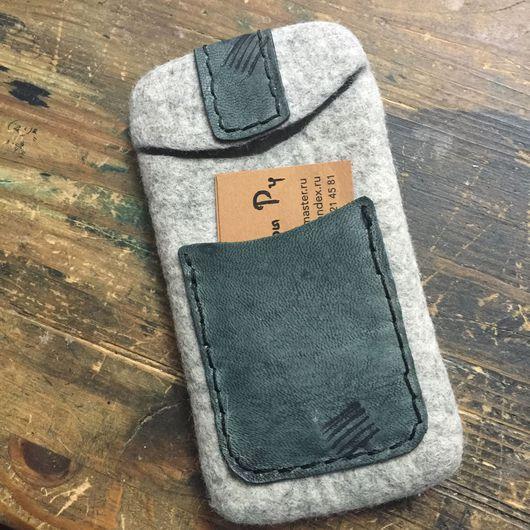Для телефонов ручной работы. Ярмарка Мастеров - ручная работа. Купить Чехол для телефона серый, чехол для планшета, чехол войлок кожа. Handmade.