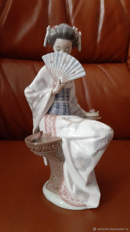 LLADRO Geisha Japanese serenity Porcelain figurine, Vintage interior, Leipzig,  Фото №1