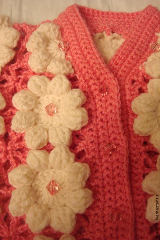 Одежда для девочек, ручной работы. Ярмарка Мастеров - ручная работа. Купить Кофточка вязаная ажурная для девочки. Handmade. Розовый, кофточка