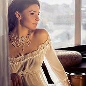 """Одежда ручной работы. Ярмарка Мастеров - ручная работа Пеньюар """"Очарованье страсти нежной"""" - свадебный белый с кружевом. Handmade."""