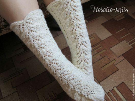 """Носки, Чулки ручной работы. Ярмарка Мастеров - ручная работа. Купить Носки вязаные"""" Ажурные"""". Handmade. Белый, носки женские"""