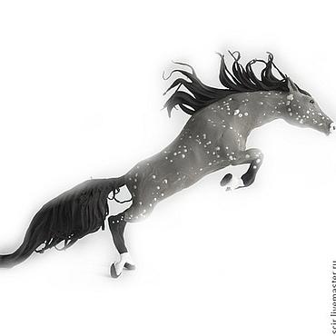 """Для дома и интерьера ручной работы. Ярмарка Мастеров - ручная работа Фигурка маленькая """"Серая лошадь в яблоках"""" (в прыжке). Handmade."""
