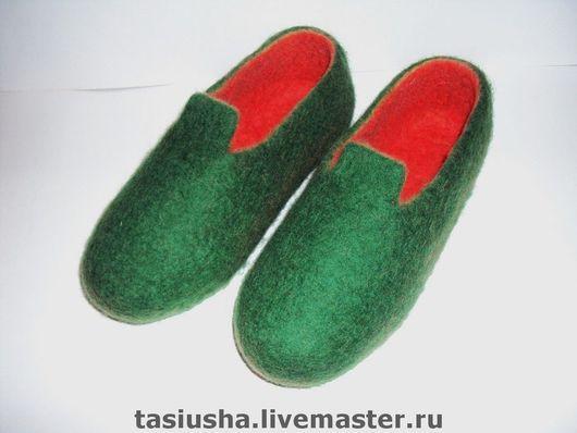 Обувь ручной работы. Ярмарка Мастеров - ручная работа. Купить Тапки валяные Зелёные. Handmade. Тапки, валяные тапки, зеленый