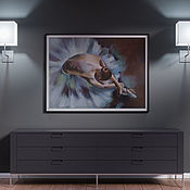 Картины и панно handmade. Livemaster - original item Pastel Ballerina painting (blue dark brown beige). Handmade.