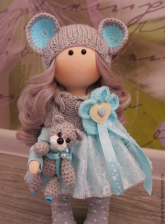 Коллекционные куклы ручной работы. Ярмарка Мастеров - ручная работа. Купить Текстильная куколка-малышка Мышка. Handmade. Голубой