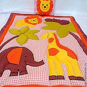 """Для дома и интерьера ручной работы. Ярмарка Мастеров - ручная работа Детский комплект в кроватку """"Африка"""" для девочки розовый. Handmade."""