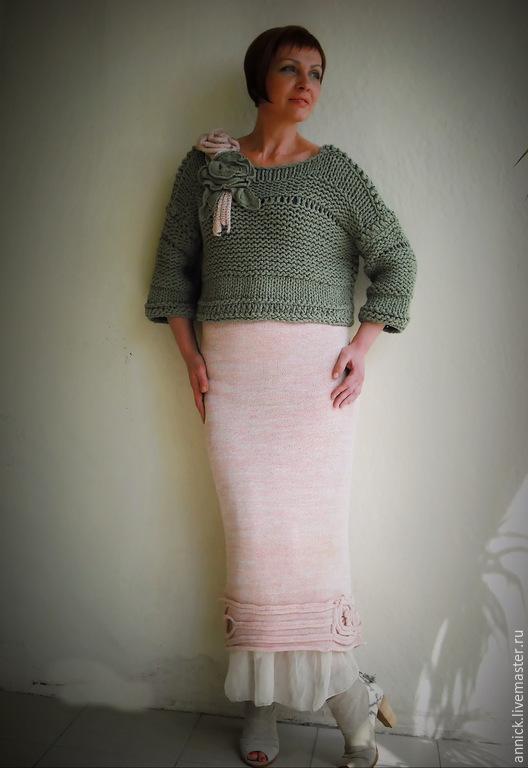 Юбки ручной работы. Ярмарка Мастеров - ручная работа. Купить Вязаная длинная юбка с шелком. Handmade. Бледно-розовый, лён
