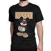 "Одежда handmade. Livemaster - original item Футболка хлопковая ""Микки Маус - Gucci"". Handmade."