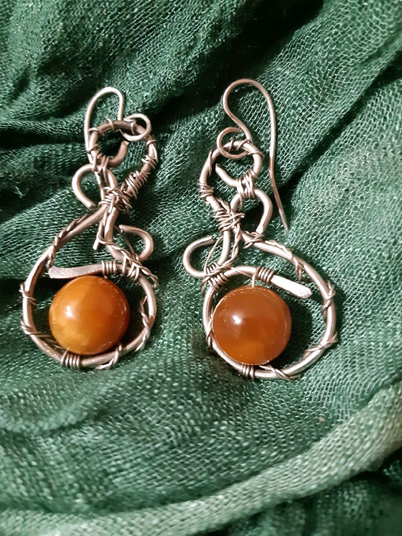 Earrings with simbircite, Ammonite simbircite in Nickel silver, Earrings, Voronezh,  Фото №1